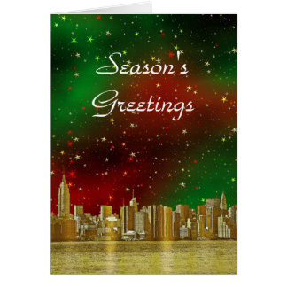 Gold NYC Skyline #1 Christmas Red Green Starry Greeting Card