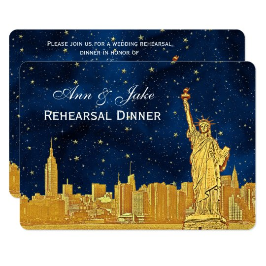 Gold NYC Skyline #2 Blue Starry H Rehearsal Dinner Card