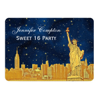 "Gold NYC Skyline #2 Etch Blue Starry BG H Sweet 16 5"" X 7"" Invitation Card"