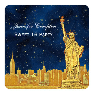 Gold NYC Skyline #2 Etch BlueStarry BG SQ Sweet 16 5.25x5.25 Square Paper Invitation Card