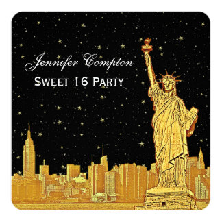 "Gold NYC Skyline #2 Etch Starry DIY BG SQ Sweet 16 5.25"" Square Invitation Card"