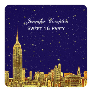 Gold NYC Skyline Etch Blue Starry Sky SQ Sweet 16 5.25x5.25 Square Paper Invitation Card