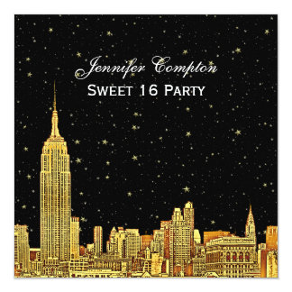 """Gold NYC Skyline Etch Starry BG Color SQ Sweet 16 5.25"""" Square Invitation Card"""