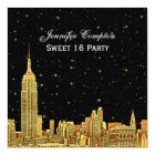 Gold NYC Skyline Etch Starry BG Colour SQ Sweet 16 Card