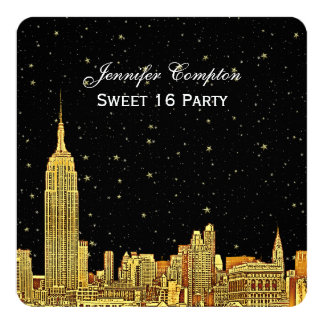 """Gold NYC Skyline Etched Starry Sky SQ Sweet 16 5.25"""" Square Invitation Card"""