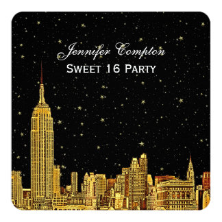 Gold NYC Skyline Etched Starry Sky SQ Sweet 16 5.25x5.25 Square Paper Invitation Card