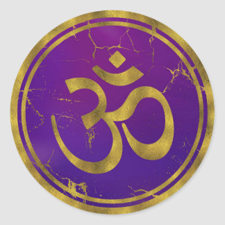 Gold OM symbol - Aum, Omkara  on Purple/Indigo Classic Round Sticker