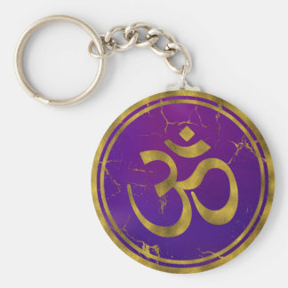 Gold OM symbol - Aum, Omkara  on Purple/Indigo Keychain