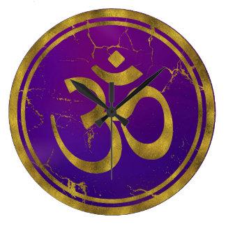 Gold OM symbol - Aum, Omkara  on Purple/Indigo Large Clock
