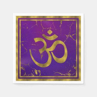 Gold OM symbol - Aum, Omkara  on Purple/Indigo Napkin