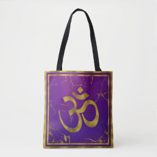 Gold OM symbol - Aum, Omkara  on Purple/Indigo Tote Bag