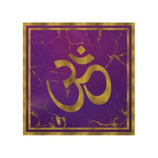Gold OM symbol - Aum, Omkara  on Purple/Indigo Wood Wall Decor