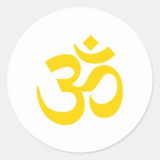 Gold Om Symbol Round Sticker