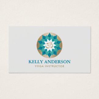 Gold Om Symbol Teal Lotus Flower Yoga Instructor Business Card