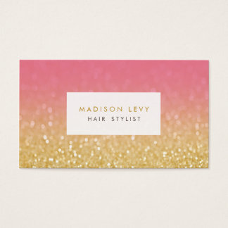 Gold Ombre Glitter Hair Stylist Appointment Cards