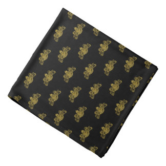 Gold On Black Tuxedo Lion Emblem Lapel Pocket Bandana