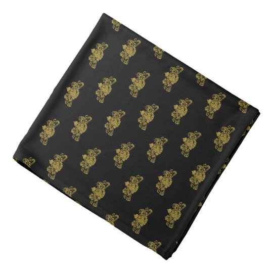 Gold On Black Tuxedo Lion Emblem Lapel Pocket Bandana