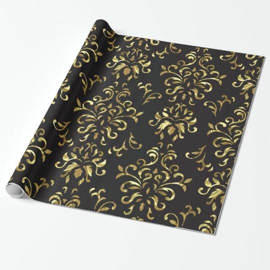 Gold On Black Vintage Floral Damasks Pattern