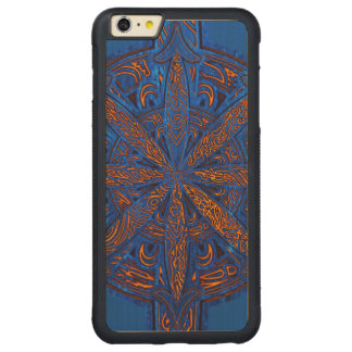 Gold on Blue Chaos Carved Maple iPhone 6 Plus Bumper Case