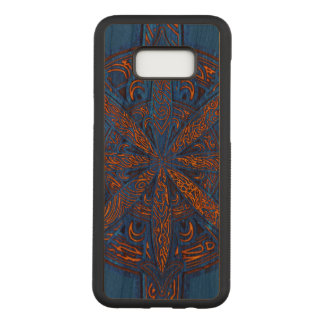 Gold on Blue Chaos Cherry Hardwood Carved Samsung Galaxy S8+ Case