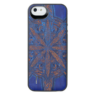 Gold on Blue Chaos iPhone SE/5/5s Battery Case