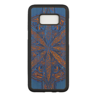 Gold on Blue Chaos Maple Hardwood Carved Samsung Galaxy S8 Case