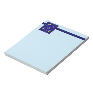 Gold on Blue Notepad