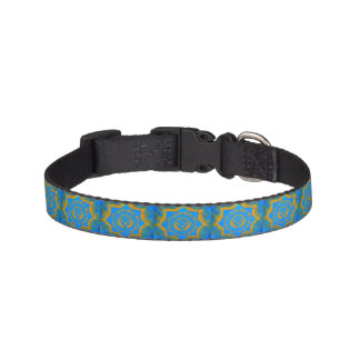 gold on blue tantric symbols pet collar