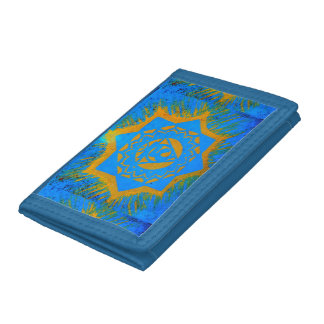 gold on blue tibetan design trifold wallet