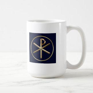 Gold on dark blue Chi-Rho symbol Coffee Mug