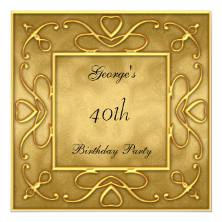 Gold on Gold Birtday Party Invitation