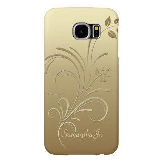 Gold on Gold Floral Swirls Monogram case
