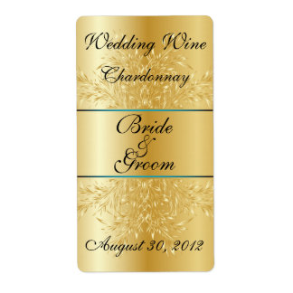 Gold on Gold Wedding Wine Label Shipping Labels