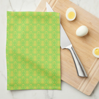 Gold on Green Abstract Pattern Kitchen Towel