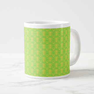 Gold on Green Abstract Pattern Large Coffee Mug
