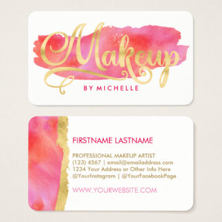 Gold on Pink Watercolor Swash MAKEUP Artist Cards