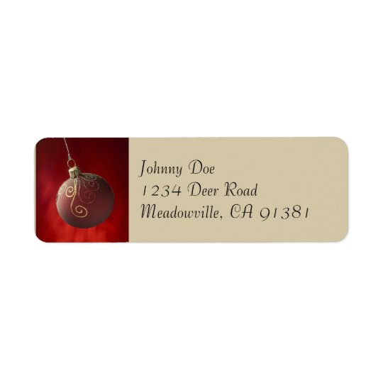 Gold on Red Ornament Avery Label