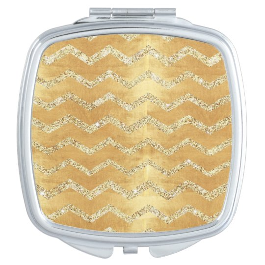 gold,on rustic gold,chevron,zig zag,grunge,trendy, compact mirror