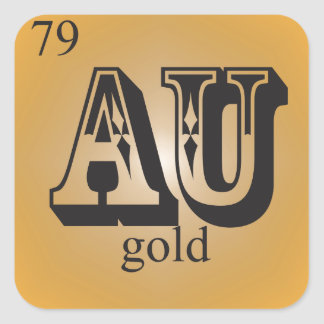 Gold on the Periodic Table Square Sticker