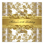"""Gold On White 50th Birthday Party Jewels Floral 5.25"""" Square Invitation Card"""