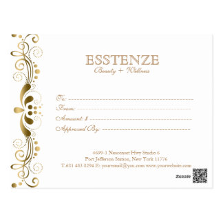 Gold On & White  Floral Lace Gift Certificate Postcard