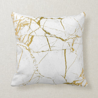 Gold on White Marble - Throw Pillow