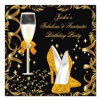 "Gold Orange Black Women's Birthday Party 5.25"" Square Invitation Card"