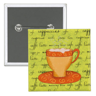 Gold Orange Coffee Art on Lime Green Script Words 2 Inch Square Button