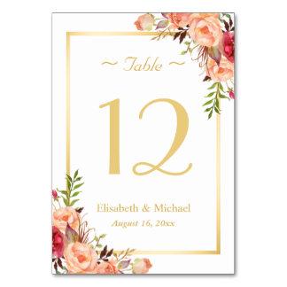 Gold Orange Rose Floral Chic Wedding Table Number Table Cards