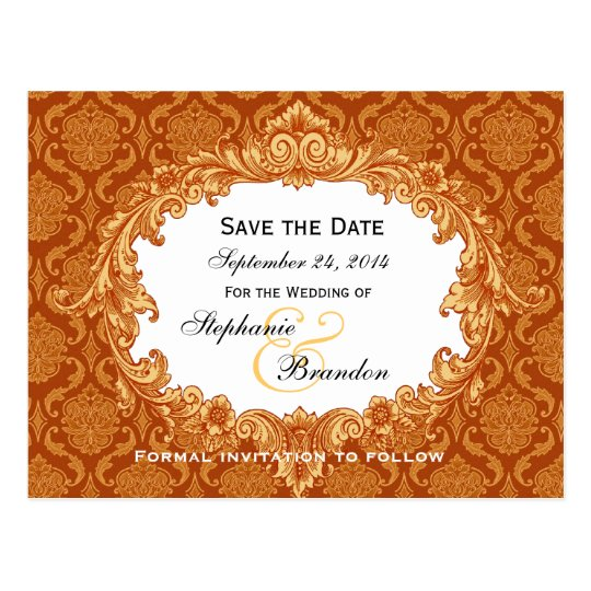 Gold Orange Vintage Damask Wedding Save Date V34 Postcard