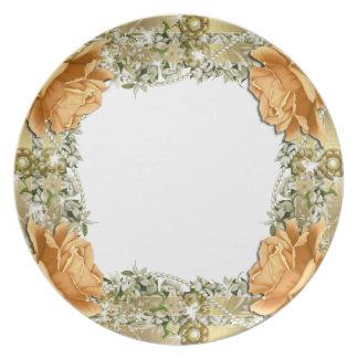 Gold orange wedding elegant dinnerware dinner plates
