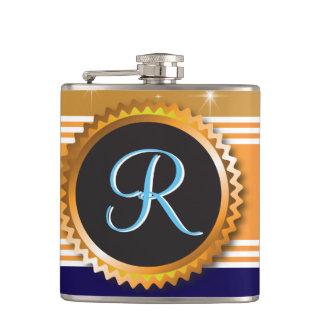 Gold Orb Stars Sapphire Blue Monogram Hip Flask