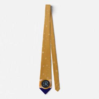 Gold Orb Stars Sapphire Blue Monogram Tie