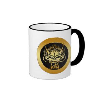 GOLD ORIENTAL DRAGON HEAD COFFEE MUG
